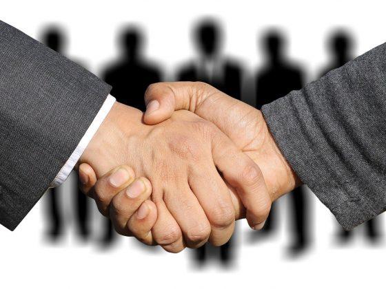 Shaking hands negotiating